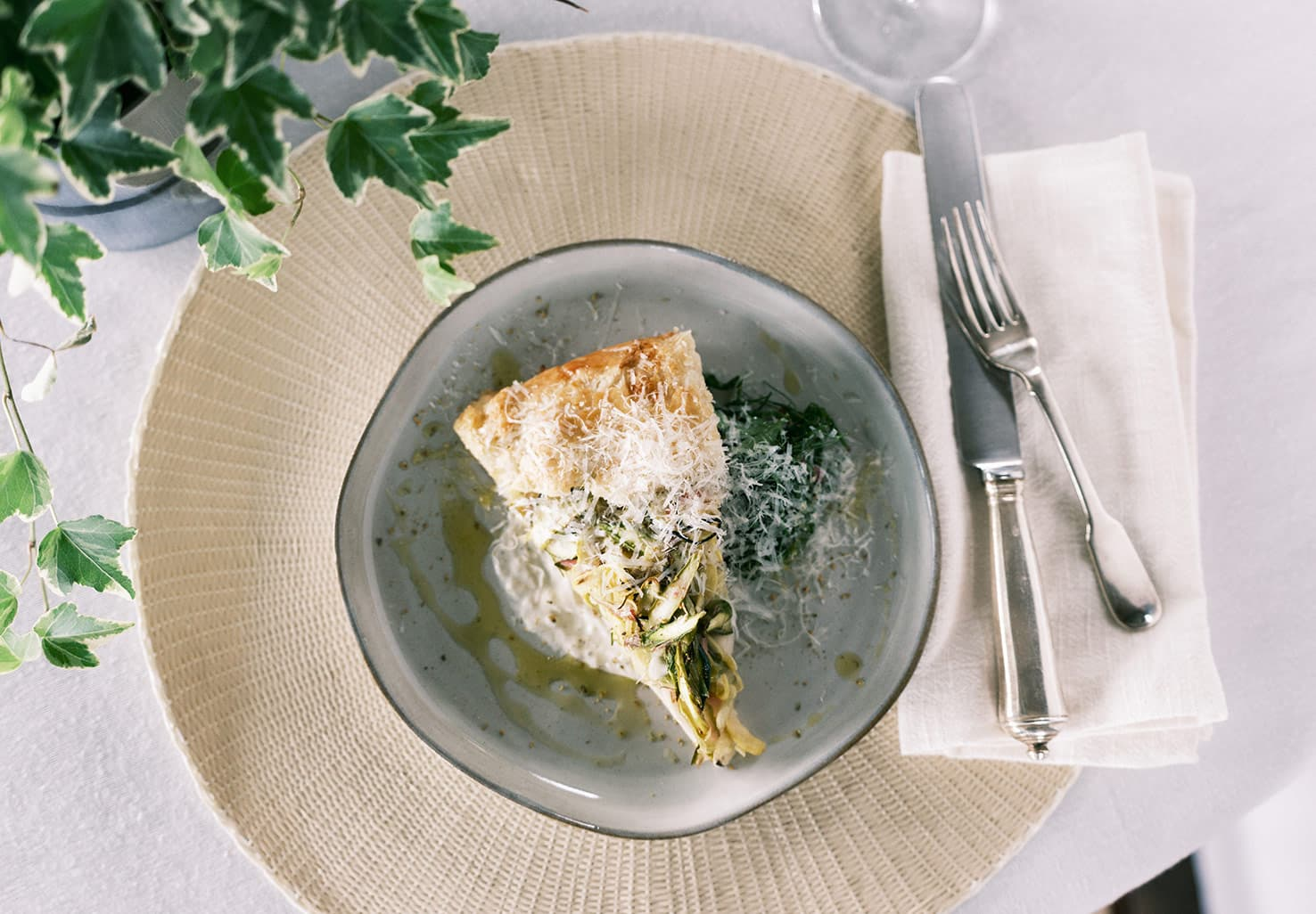 Spring Vegetable Galette with Ricotta Cream and Fresh Herb Salad at our East Tennessee resort